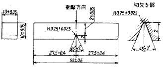 図7 シャルピー衝撃試験片[b)4号試験片]
