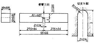 図7 シャルピー衝撃試験片[c)5号試験片]
